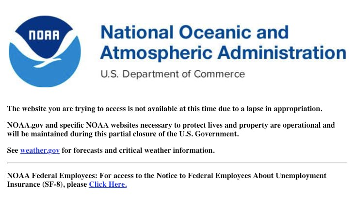 The National Oceanic and Atmospheric Administration's page that usually shows the WMM was offline as of January 11.