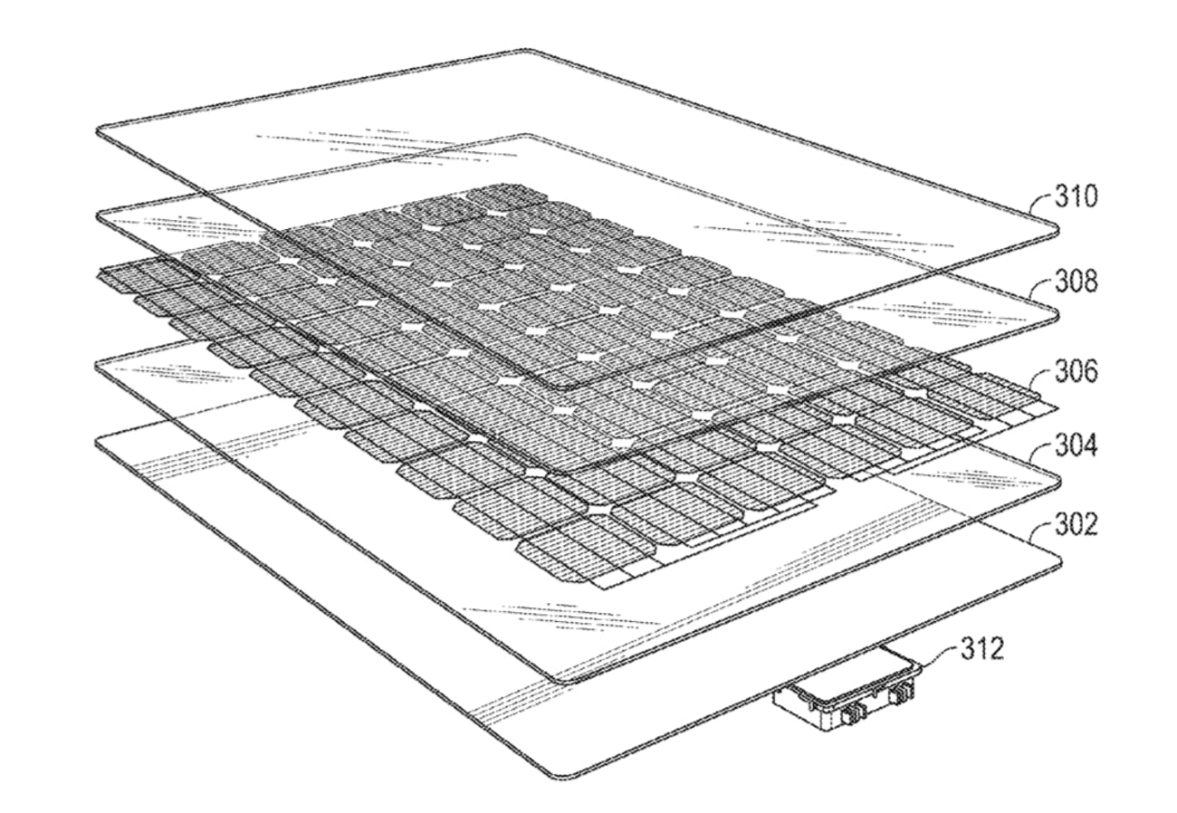 The Tesla Solar Roof image included with the patent.