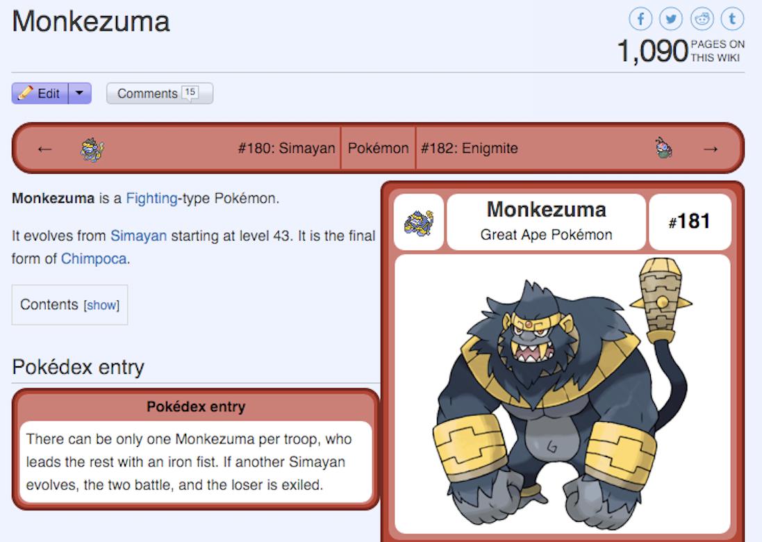 Monkezuma's page on the Pokémon Sage wiki.