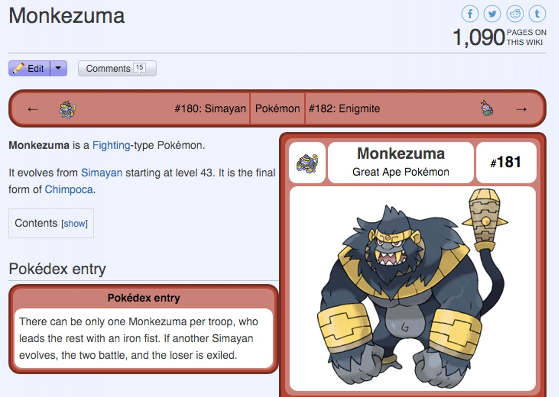 Monkezuma's page on the Pokémon Sage wiki.