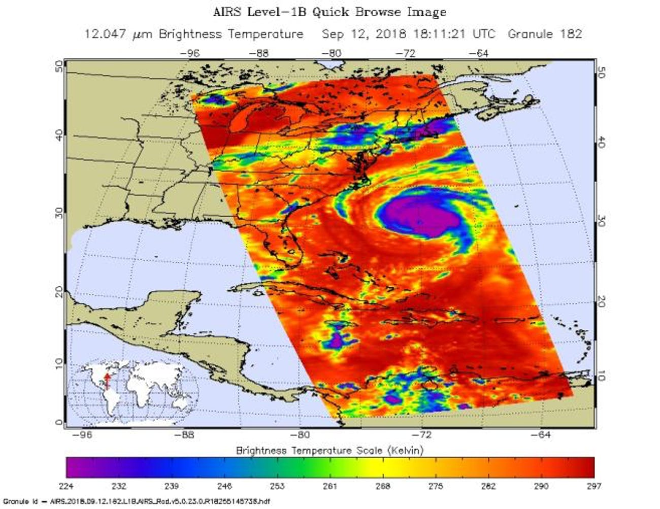 This image shows Hurricane Florence in infrared light.