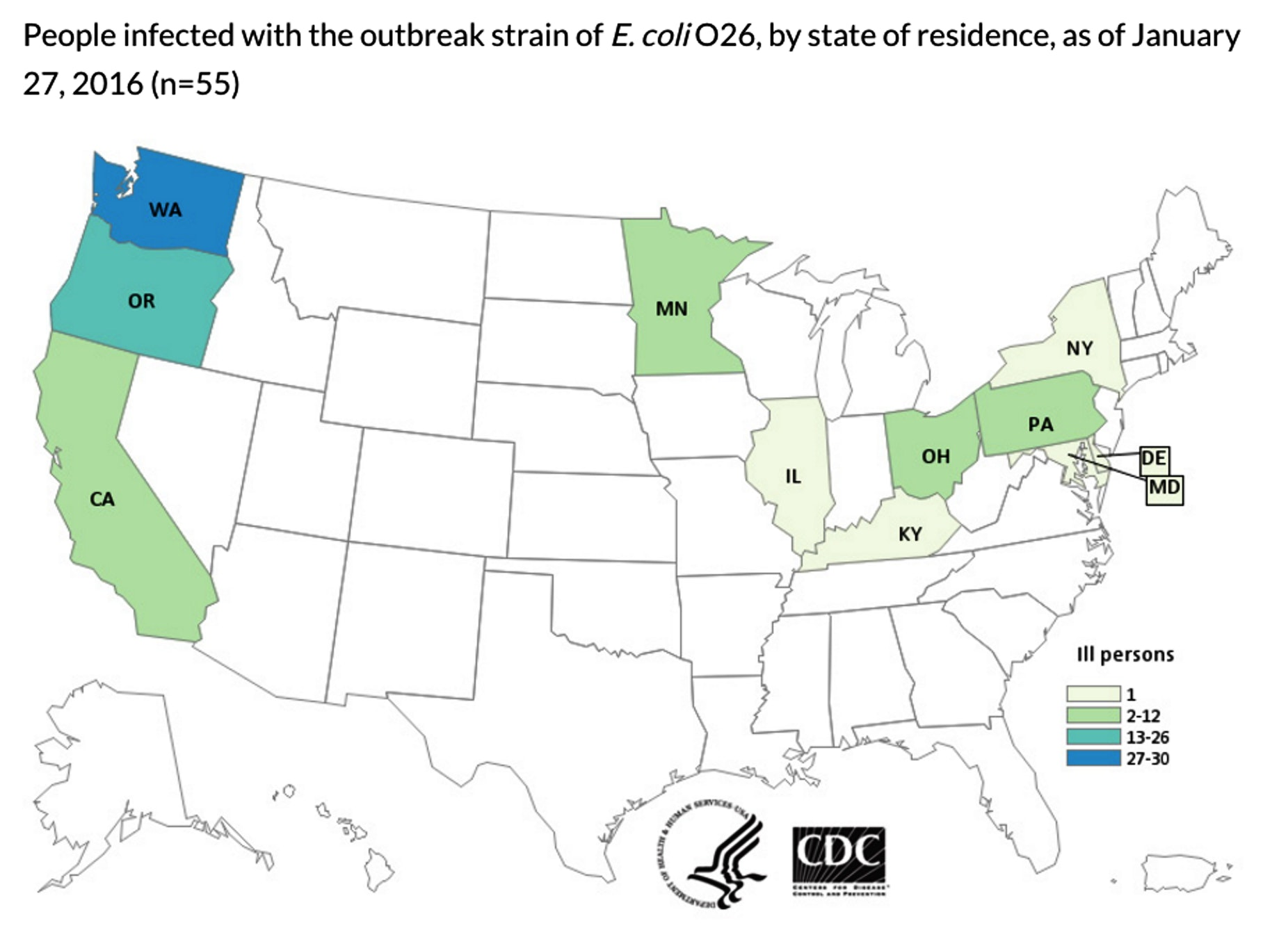People infected with the outbreak strain of E. coli O26, by state of residence, as of January 27, 2016.