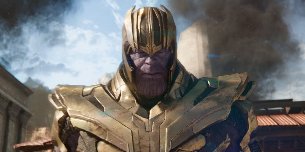We see Thanos in his full armor at some point, presumably in a flashback.