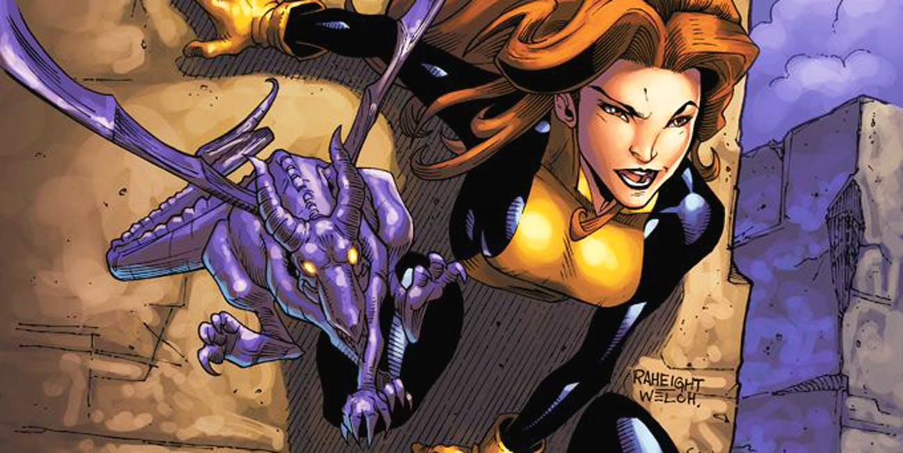 Shadowcat and the alien dragon Lockheed.