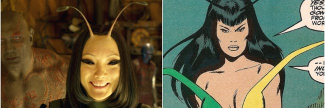 Mantis in 'Guardians of the Galaxy Vol. 2' and as she originally appeared in the Marvel comics.