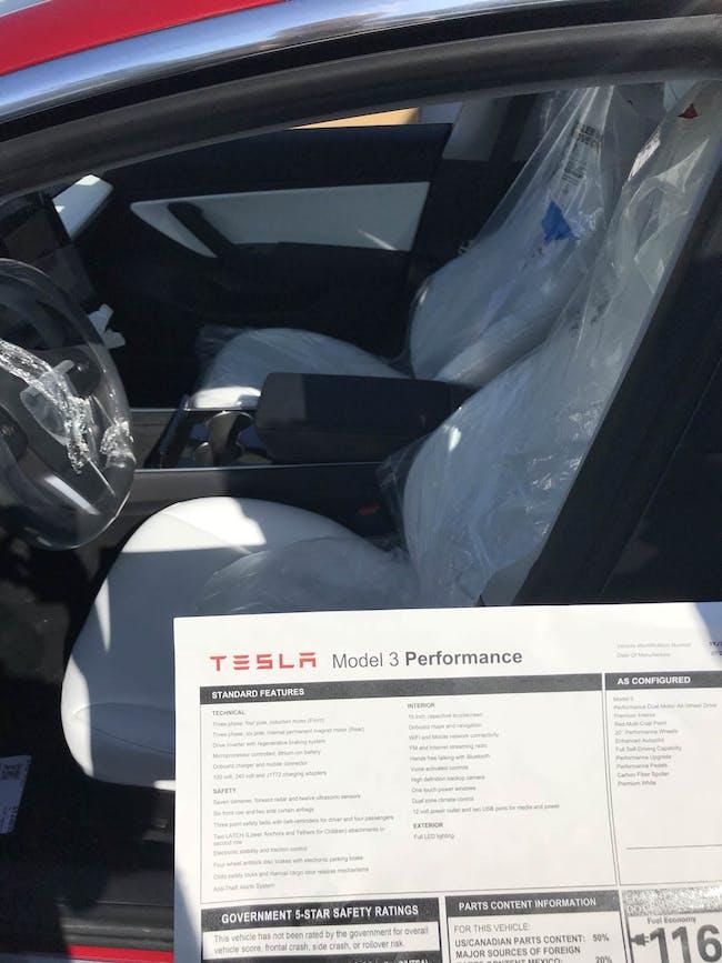 Tesla Model 3 performance edition sticker.