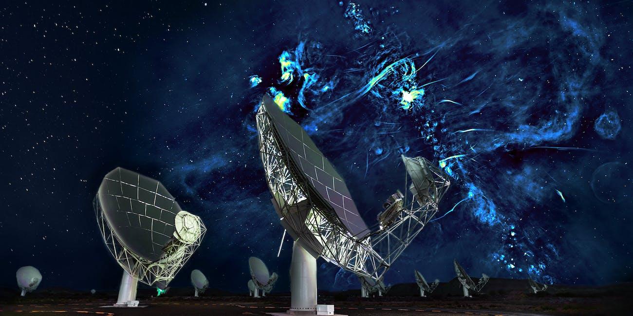 composite of MeerKAT telescope and radio bubbles