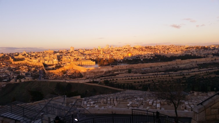 Early morning on the Mount of Olives, looking over the old city of Jerusalem.