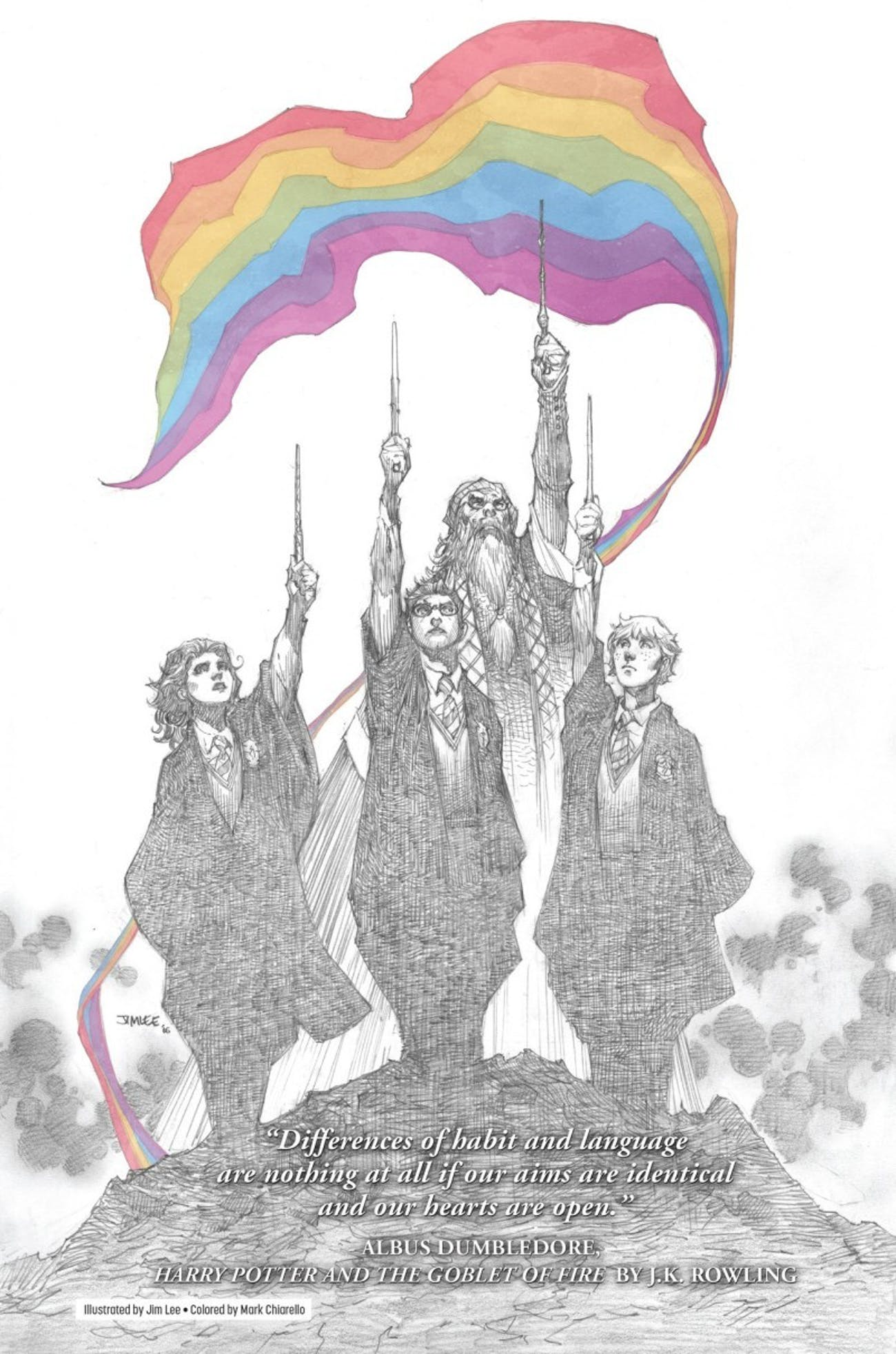 lee a co publisher of dc comics uses an oft forgotten but poignant quote from dumbledore in the illustration differences of habit and language are