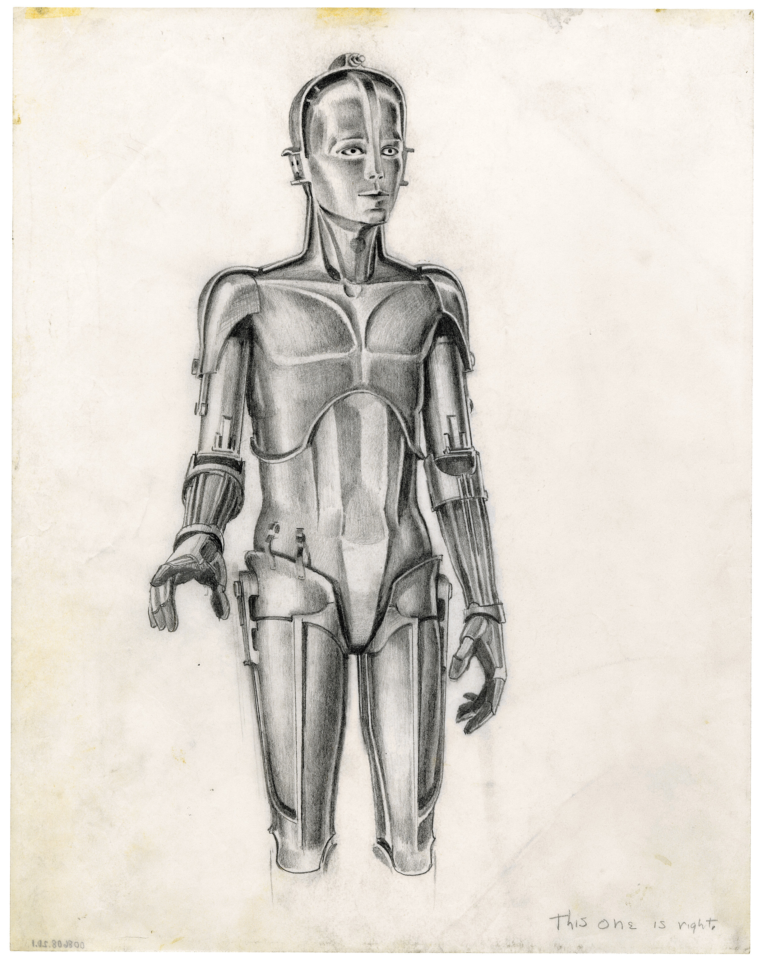 "McQuarrie's early concept art for C-3PO inspired by the ""Maria"" robot from 'Metropolis'."