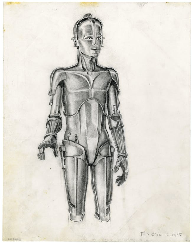 """McQuarrie's early concept art for C-3PO inspired by the """"Maria"""" robot from 'Metropolis'."""