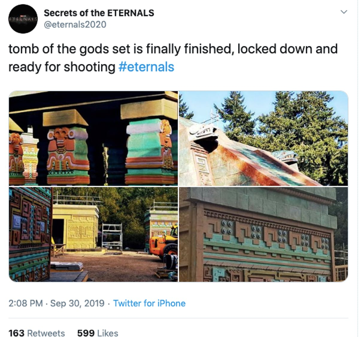 marvel eternals temple of the gods twitter set photo leak