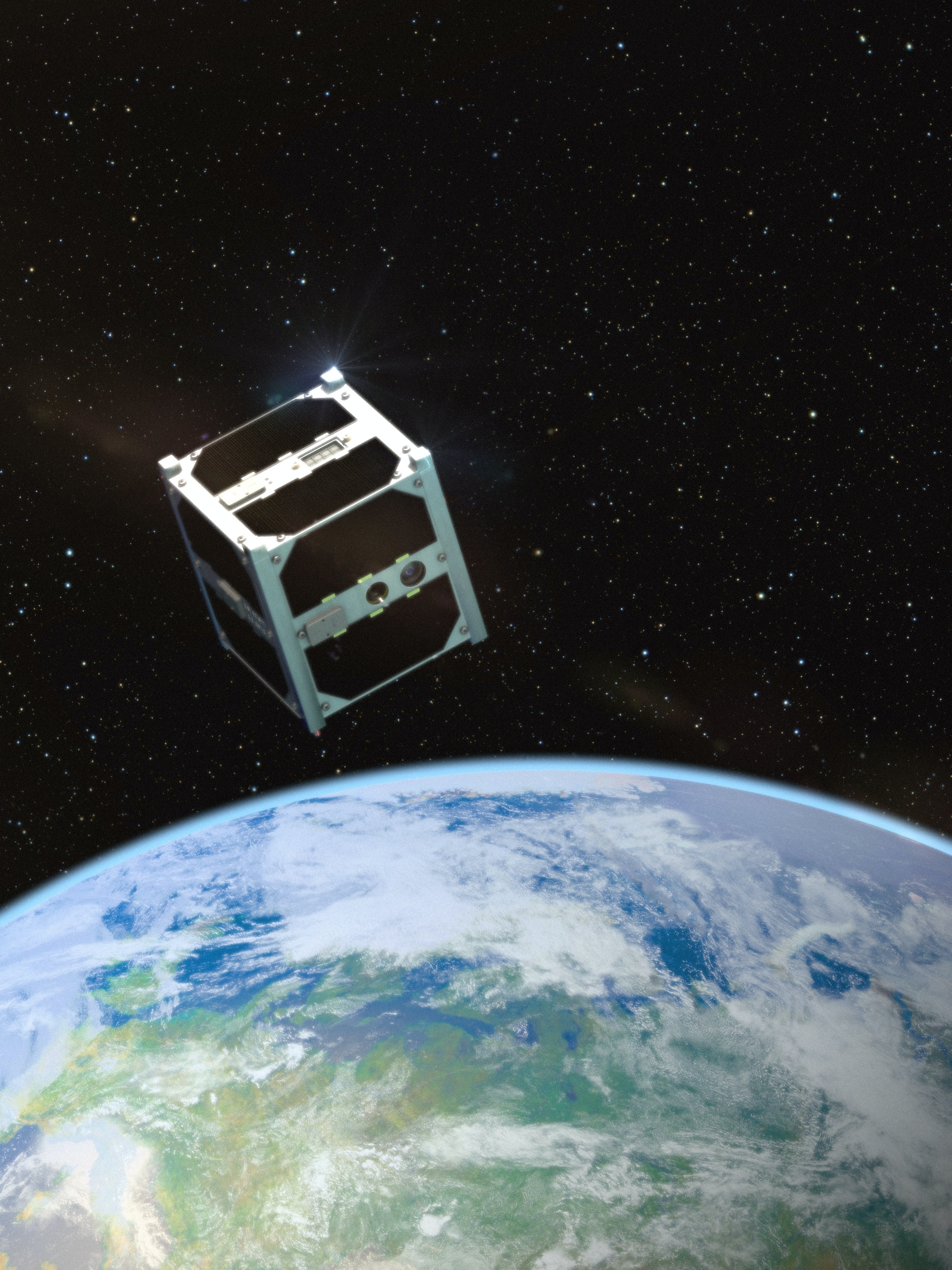 Concept art of a cubesat that would carry the Humanity Chip up into space.