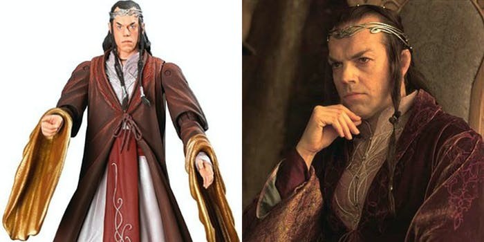 An Elrond figurine and Elrond himself, looking noble and a little judgmental.