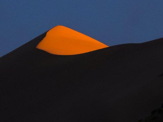 Mongolian landscape at sunset - Khongorin Els sand dunes in the Gobi desert