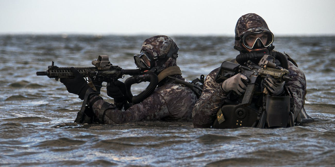 Sailors conduct military dive operations off the East Coast of the United States.