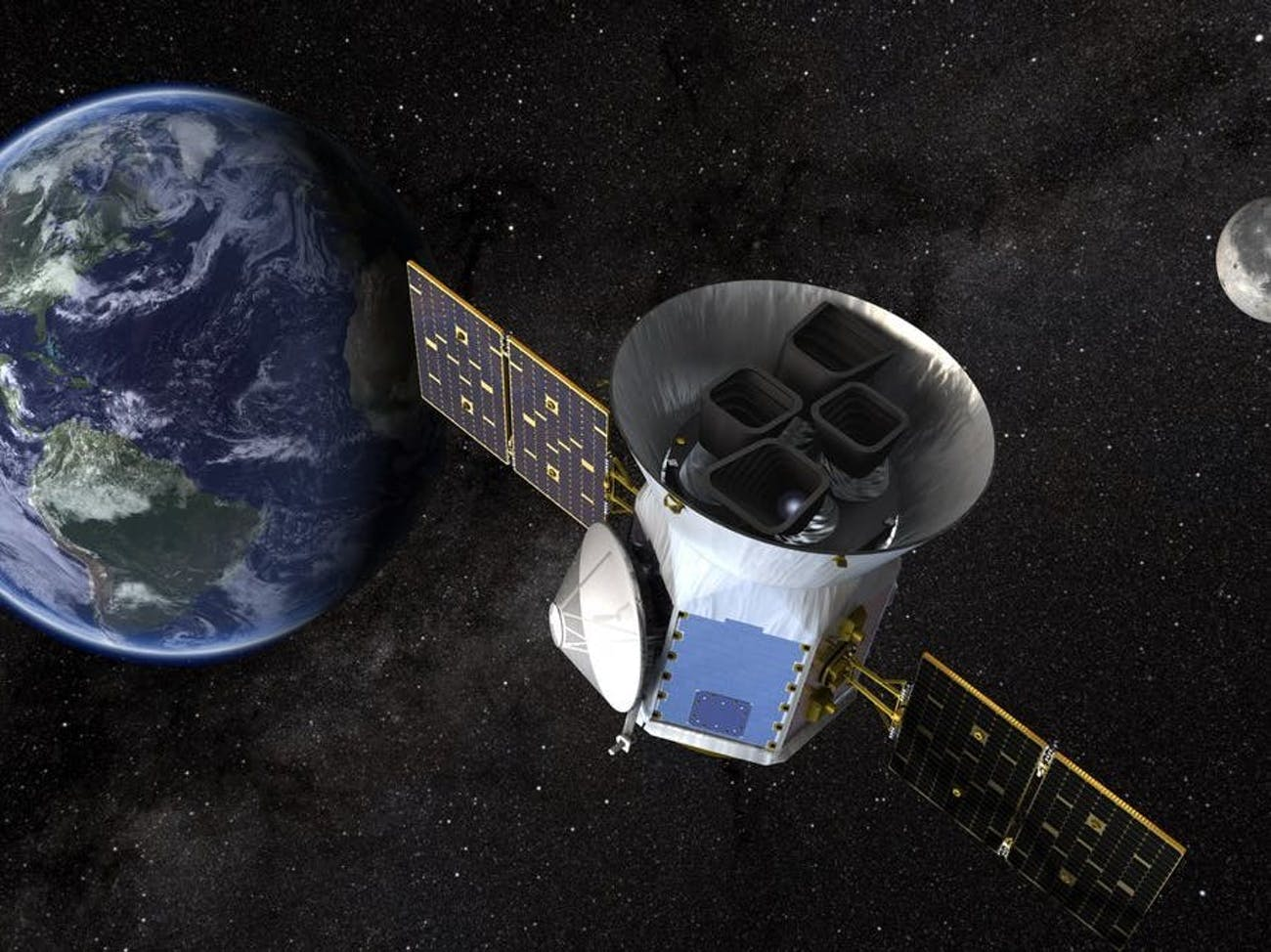 An artist's rendering of TESS, the MIT-managed planet-hunting satellite.