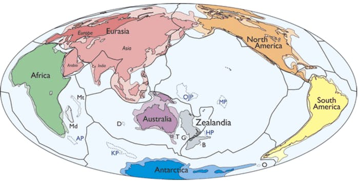 A map of Earth's tectonic plates and continents, including Zealandia.