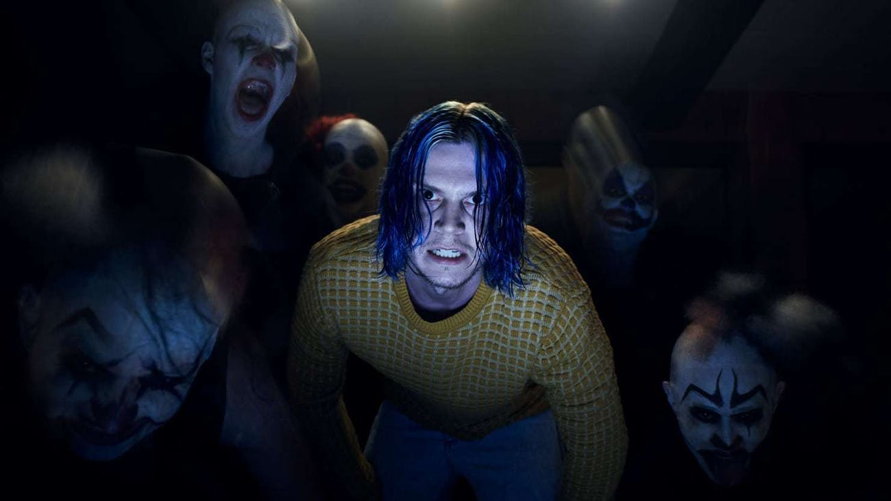 Cult leader-in-training Kai and some clowns in 'American Horror Story: Cult'.