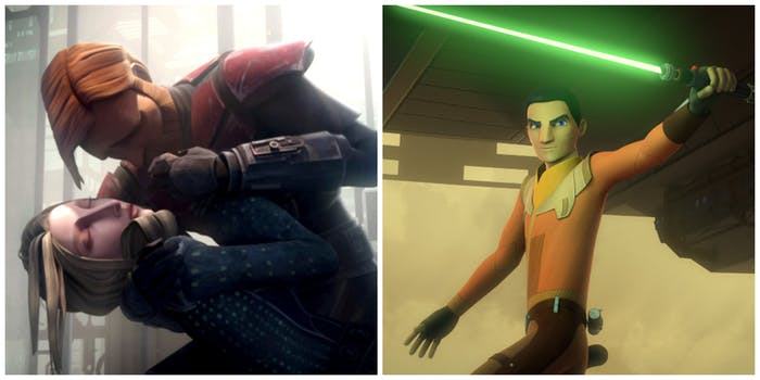 LEFT: Obi-Wan with Satine. RIGHT: Ezra Bridger