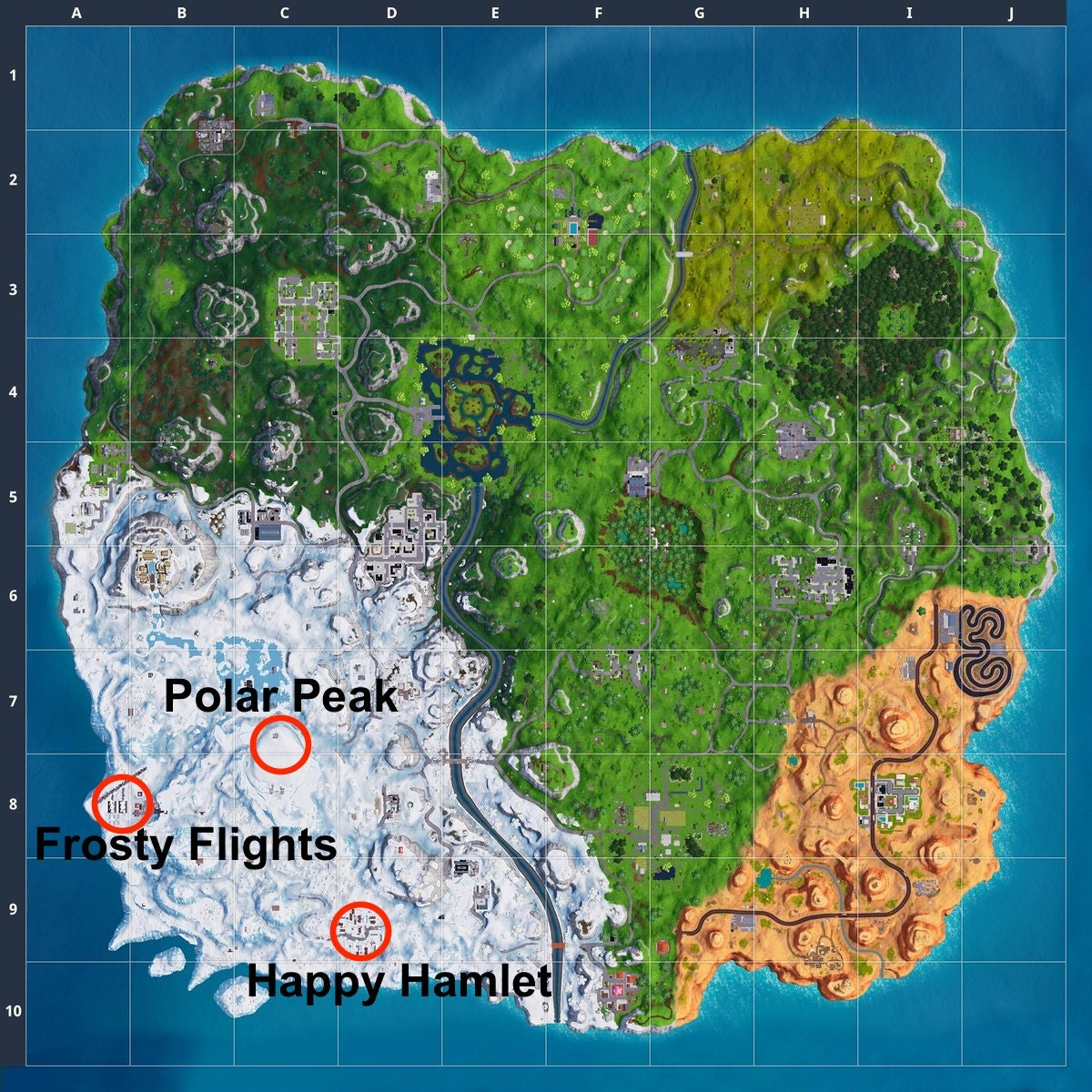 image regarding Printable Fortnite Map known as Fortnite Period 7 Map Improvements Impression: Clean Places and