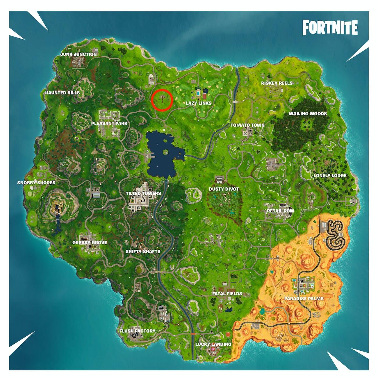 Location of Week 1 Road Trip Battle Star