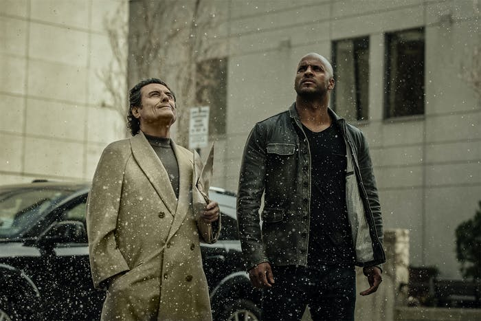 Ian McShane as Wednesday and Ricky Whittle as Shadow in Starz's adaptation of Neil Gaiman's 'American Gods'