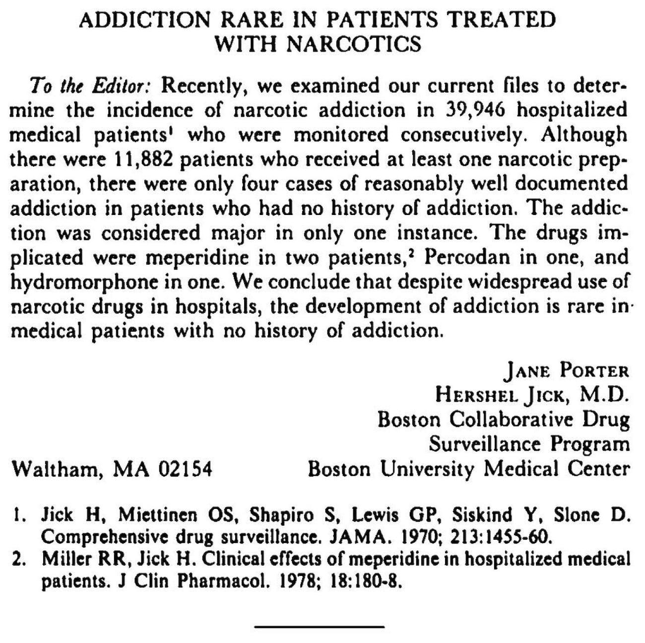 New England Journal of Medicine NEJM opioid letter 1980