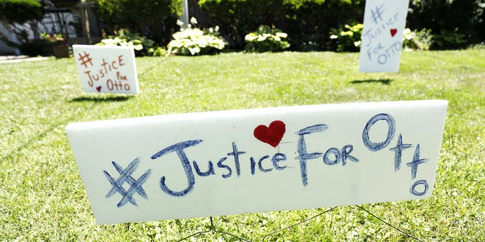 WYOMING, OH-JUNE 21: Signs on the front lawn of Lauren Wadds Wyoming, Ohio home proclaims, '#Justice For Otto' as the the town of Wyoming prepares for the funeral of Otto Warmbier June 21, 2017 in Wyoming, Ohio. The 22-year-old college student was released from a North Korean prison last Tuesday in a coma after spending 17 months in captivity for allegedly stealing a propaganda poster. (Photo by Bill Pugliano/Getty Images)