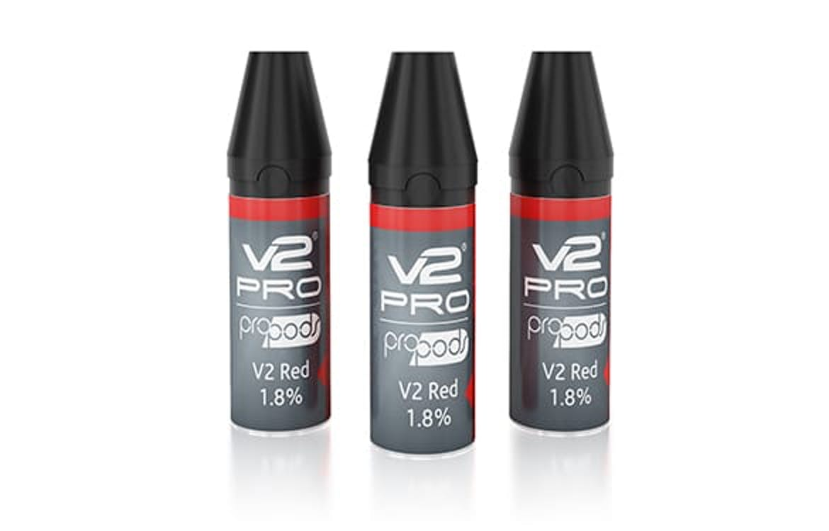 The V2 Red flavor is roughly the equivalent of Marlboro Reds in pre-packaged vape pods.