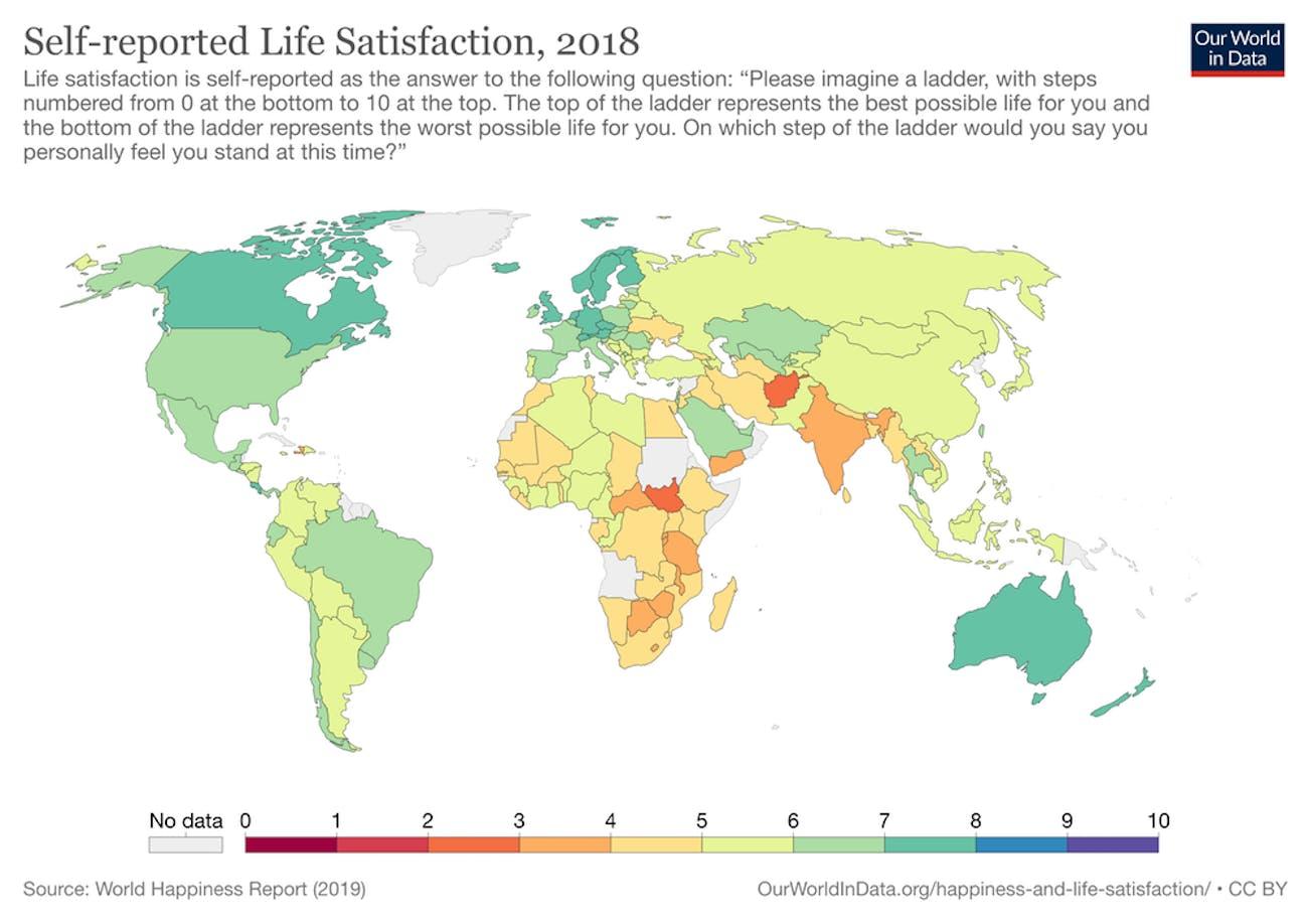 Self-reported life satisfaction, 2018.