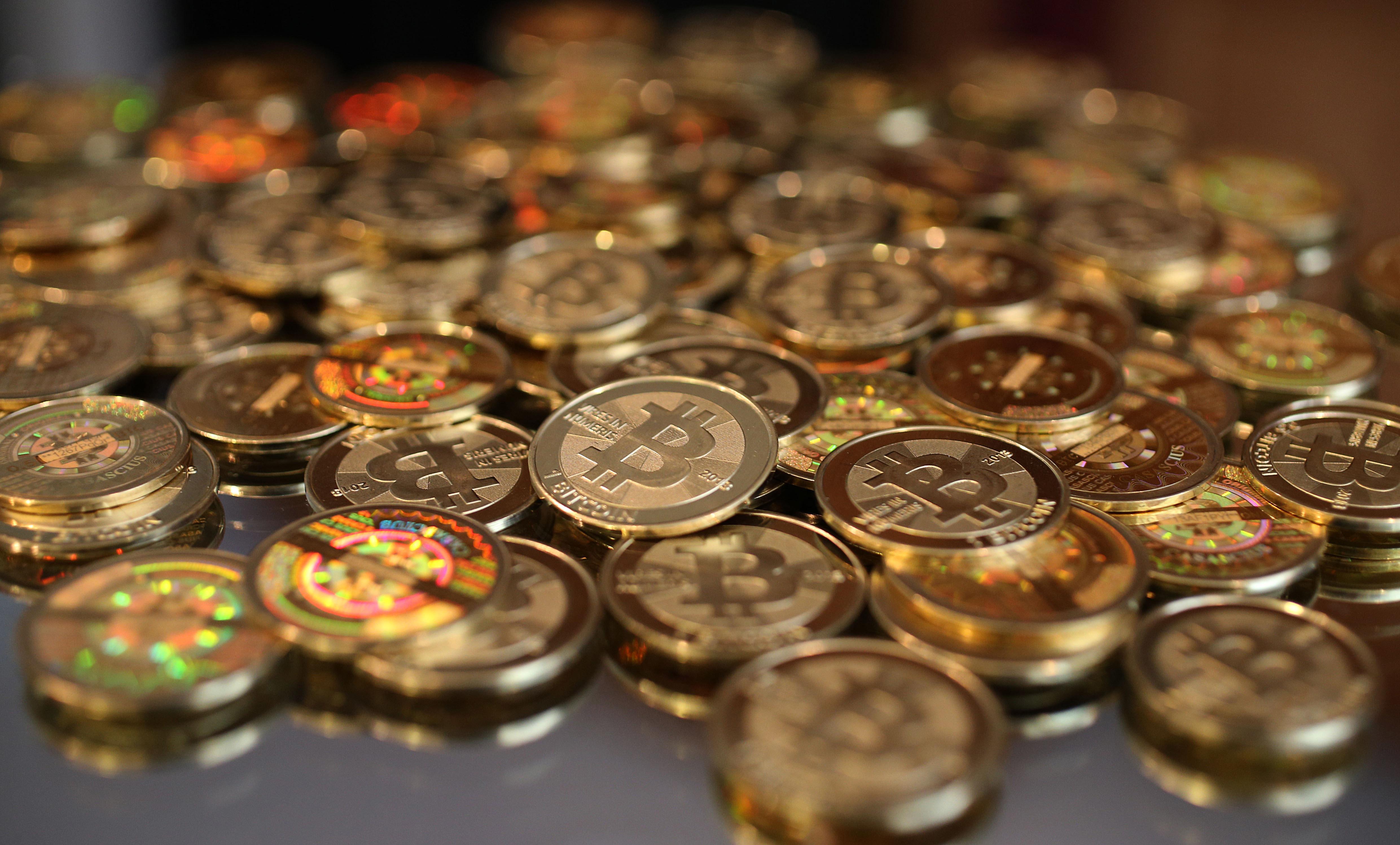 A pile of Bitcoins.