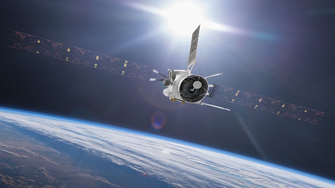 Artist's impression of BepiColombo during its April 2020 Earth flyby. Mio can be seen nestled inside its sunshield.