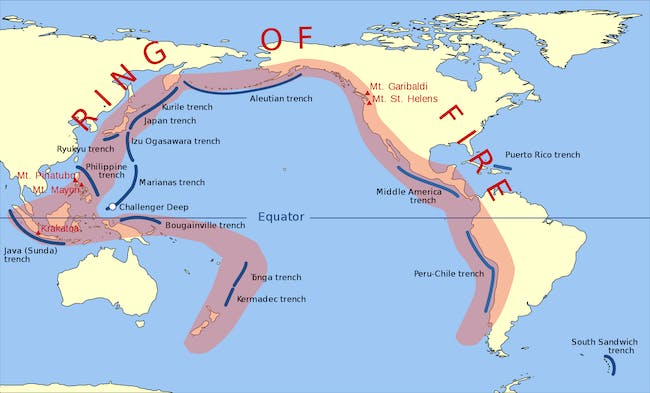 The Ring of Fire includes tons of sites that have more geological activity.
