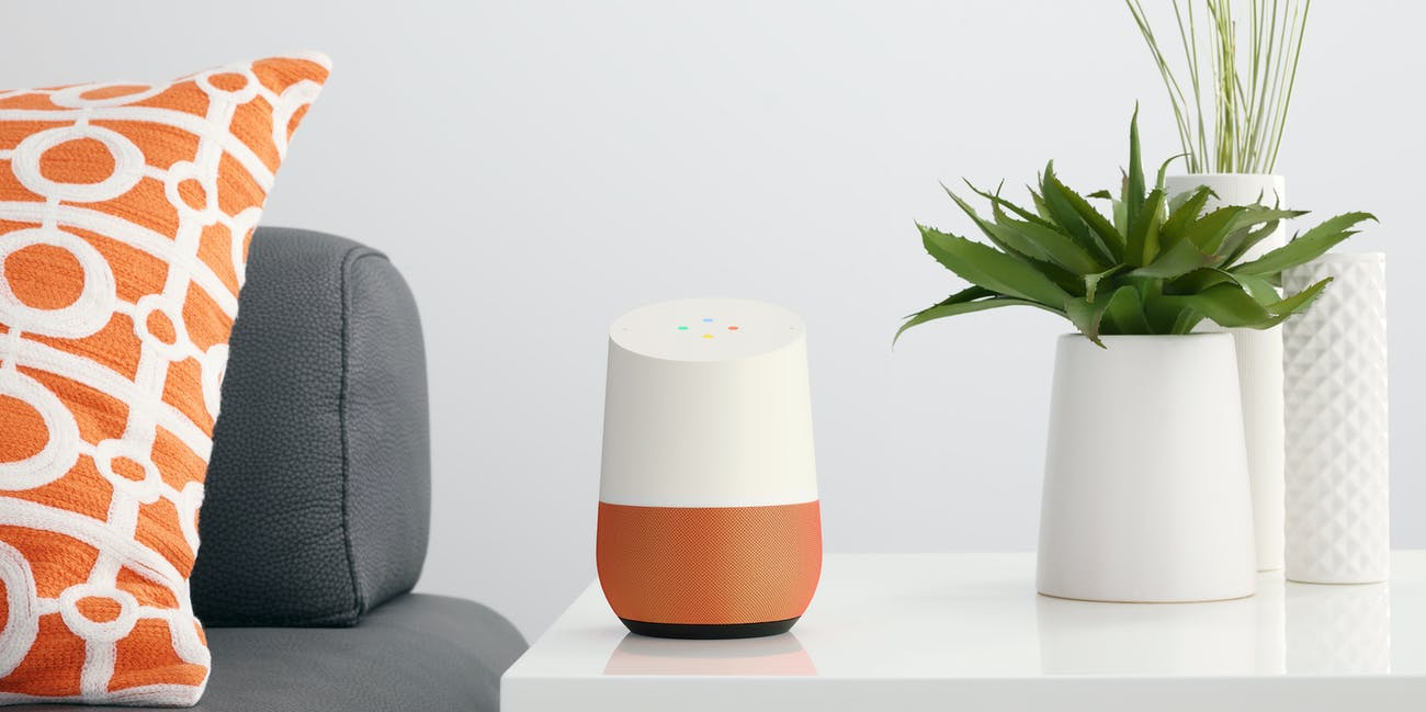 An animated GIF shows Google Home, an internet-connected speaker made by Google, responding to a voice command.