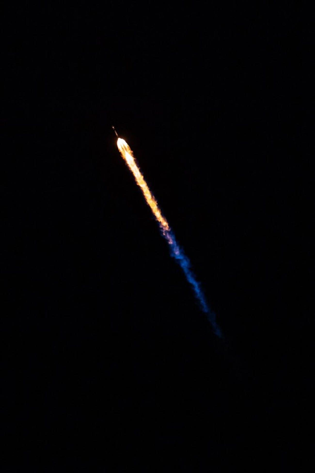 Falcon 9 cruising through the sky.