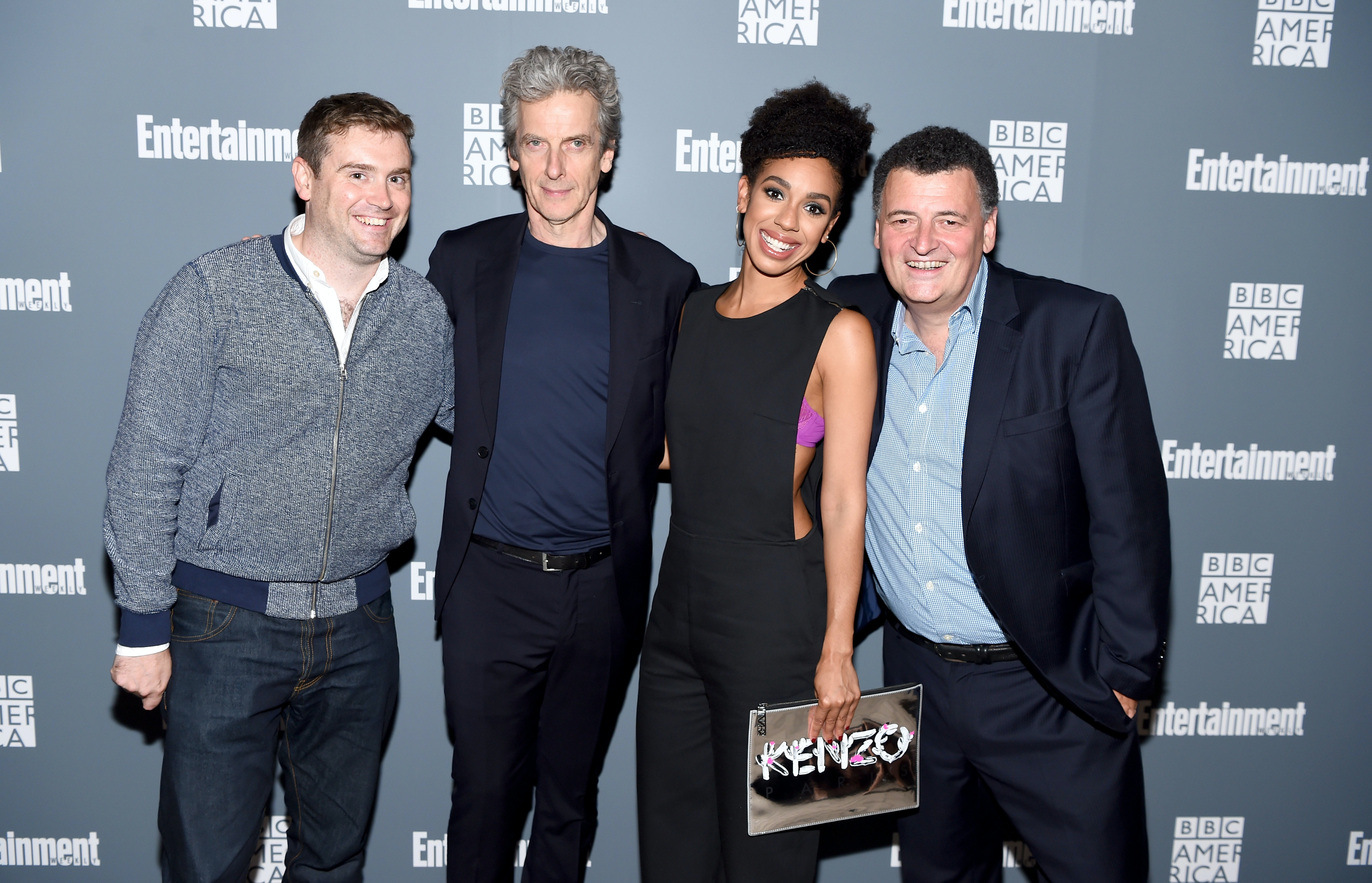 NEW YORK, NY - OCTOBER 06:  Brian Minchin, Peter Capaldi, Pearl Mackie, and Steven Moffat attend  EW Hosts An Evening With BBC America on October 6, 2016 in New York City.  (Photo by Dave Kotinsky/Getty Images for Entertainment Weekly)