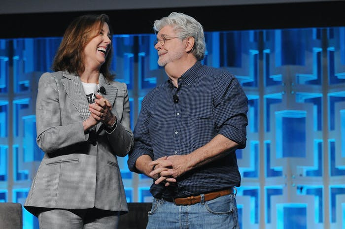 ORLANDO, FL - APRIL 13: Kathleen Kennedy and George Lucas attend the 40 Years of Star Wars panel during the 2017 Star Wars Celebration at Orange County Convention Center on April 13, 2017 in Orlando, Florida.