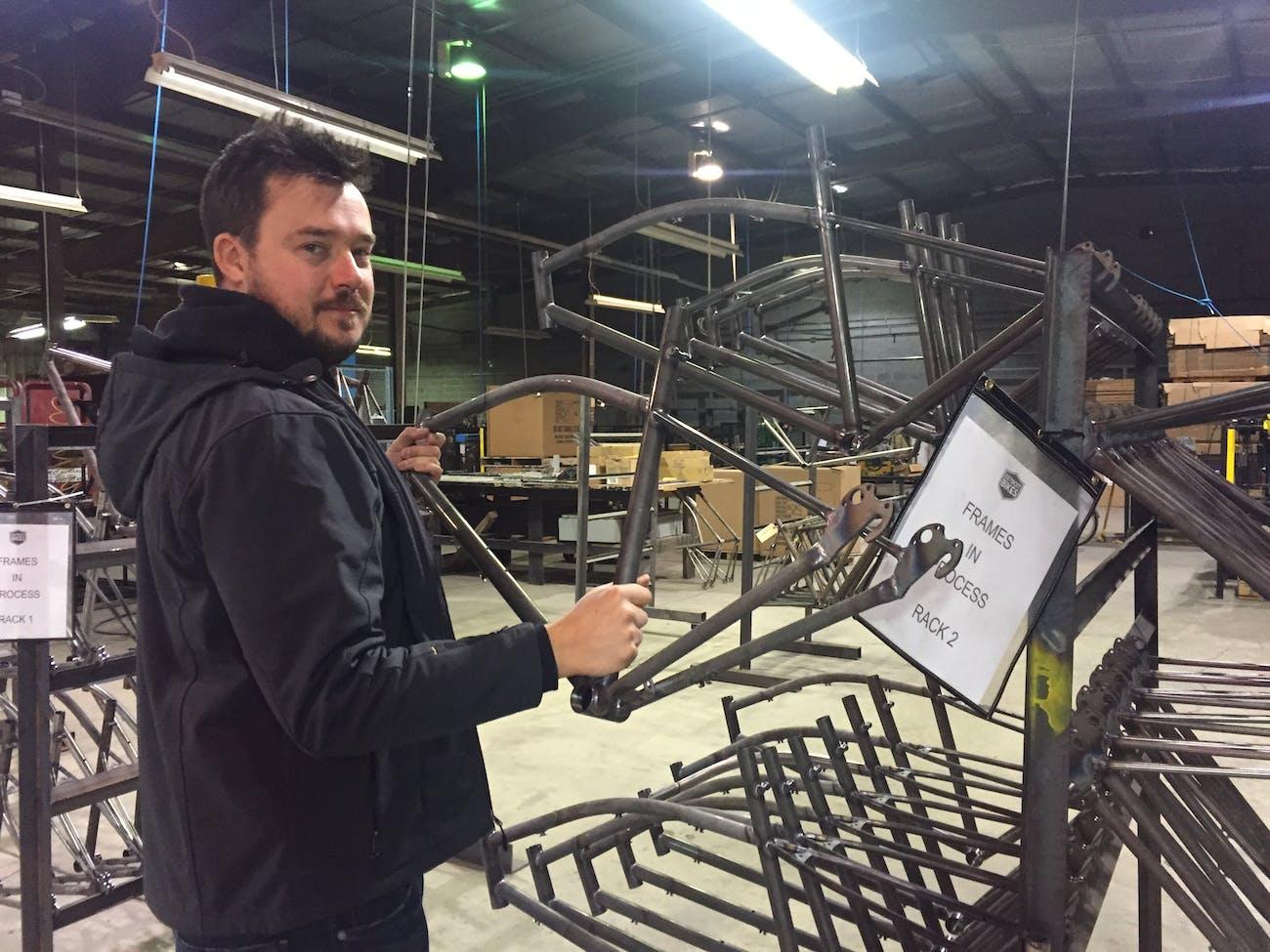 Pashak at the Detroit Bikes factory.