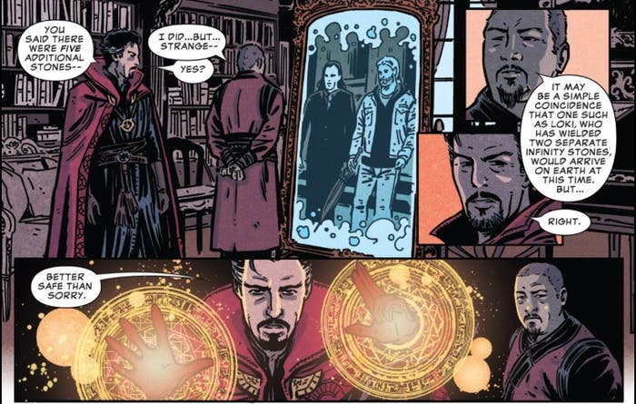 As Wong explains the Infinity Stones to Doctor Strange, Thor and Loki arrive in New York City.