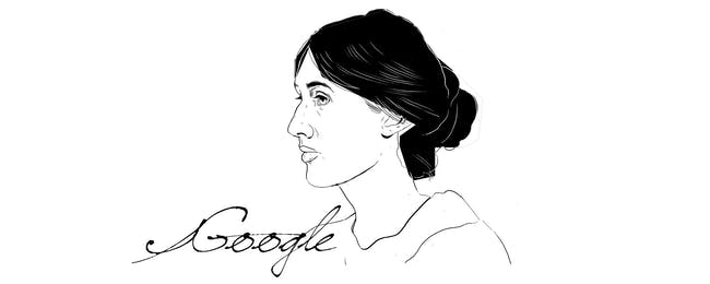 A draft version of the Virginia Woolf Google Doodle.