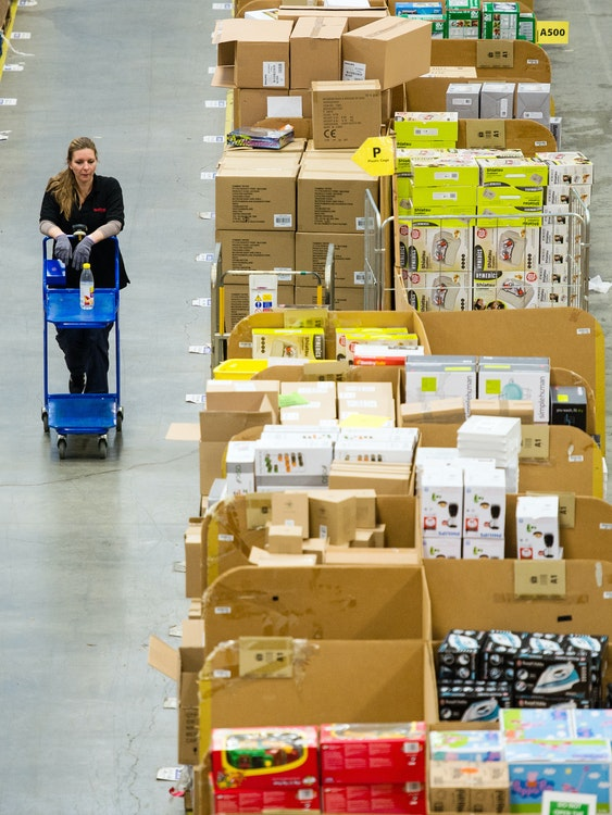 HEMEL HEMPSTEAD, ENGLAND - NOVEMBER 25:  The Amazon Fulfilment Centre prepares for Black Friday  on November 25, 2015 in Hemel Hempstead, England. Black Friday has now overtaken Cyber Monday as Amazon.co.uk's busiest day with 5.5million items sold on the day last year.  (Photo by Jeff Spicer/Getty Images)