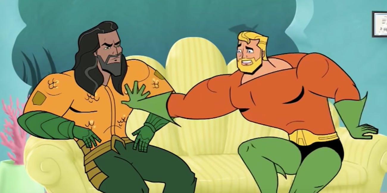 aquaman cartoon trailer funny
