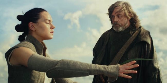 Rey and Luke Skywalker in 'Star Wars: The Last Jedi'.