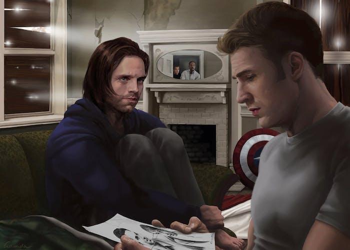 Steve and Bucky fan art by Gassada on DeviantArt.