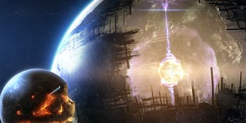 moon space station building - dyson-sphere