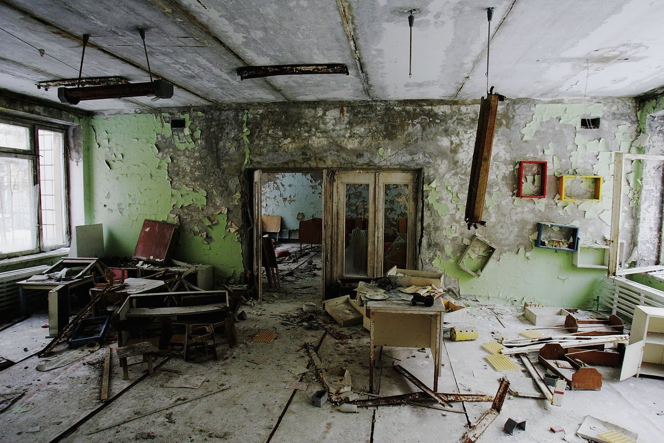 The remnants of an abandoned classroom in a pre-school in Pripyat.