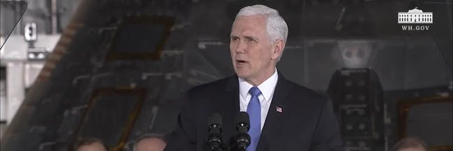 Mike Pence speaking at the Second Meeting of the National Space Council.