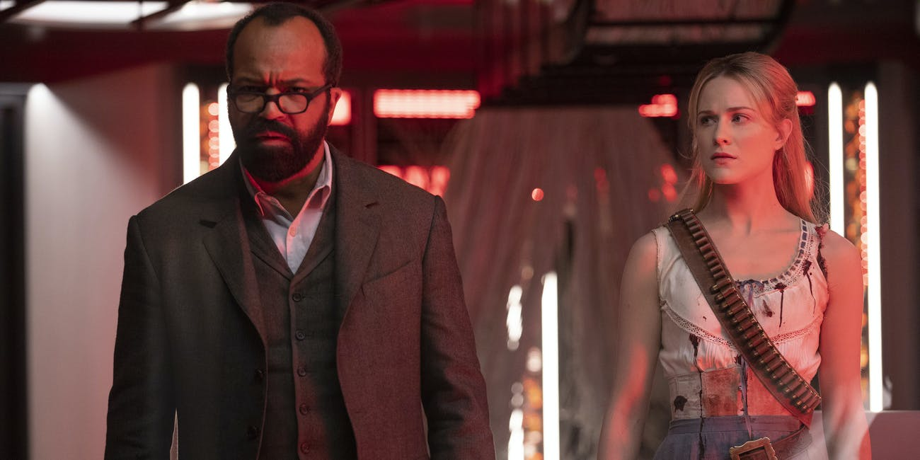 Still from Westworld of Jeffrey Wright and Evan Rachel Wood