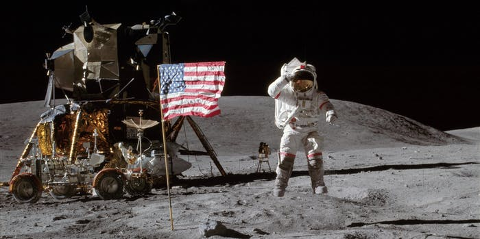 John W. Young on the Moon during Apollo 16 mission.